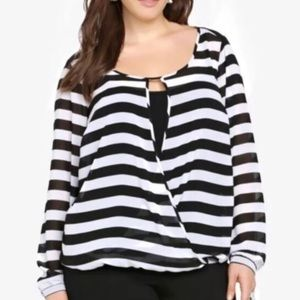 TORRID • striped surplice blouse